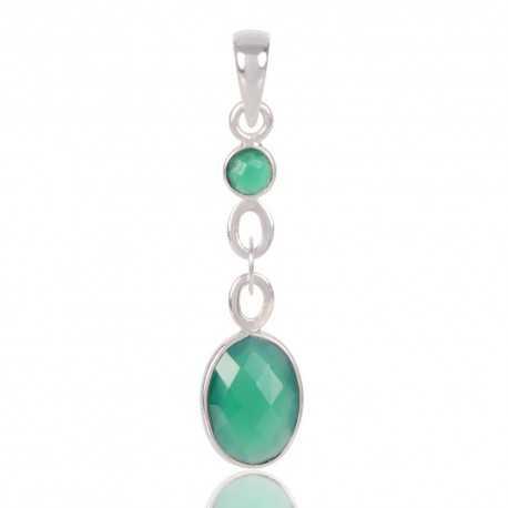 Green Onyx Gemstone 925 Sterling Silver Fashion Pendant