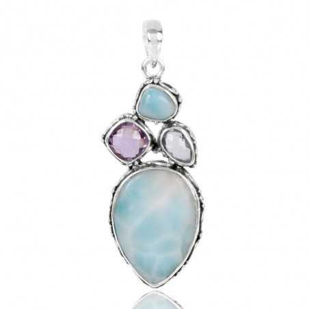 Larimar Blue Topaz And Amethyst Gemstone  925 Sterling Silver Pendant
