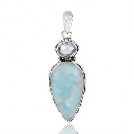 Larimar With Sky Blue Topaz Gemstone 925 Sterling Silver Pendant