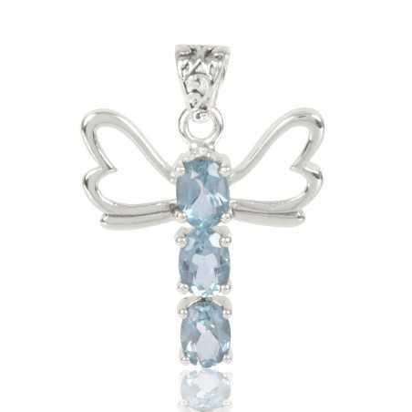 Natural Swiss Blue Topaz Gemstone 925 Sterling Silver Locket Pendant