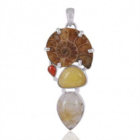 Amber Coral Medagasker Ammonite With Rutilated Quartz Gemstone 925 Sterling Sliver Pendant