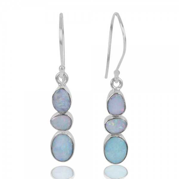 Doublet Opal Gemstone 925 Sterling Sliver Dangle Earring