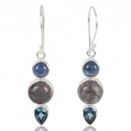 Kyanite Labradorite And Swiss Blue Topaz Gemstone 925 Sterling Sliver Earring