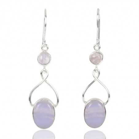 Blue Lace Agate And Rainbow Moonstone Gemstone 925 Sterling Sliver Earring