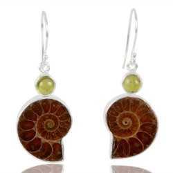 Idocrase And Medagasker Ammonite Gemstone 925 Sterling Sliver Earring
