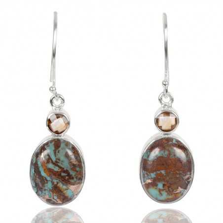 Natural Boulder Turquoise And Citrine Gemstone 925 Sterling Sliver Earring