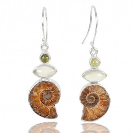 Idocrase Medagasker Ammonite And Prehnite Gemstone 925 Sterling Sliver Earring