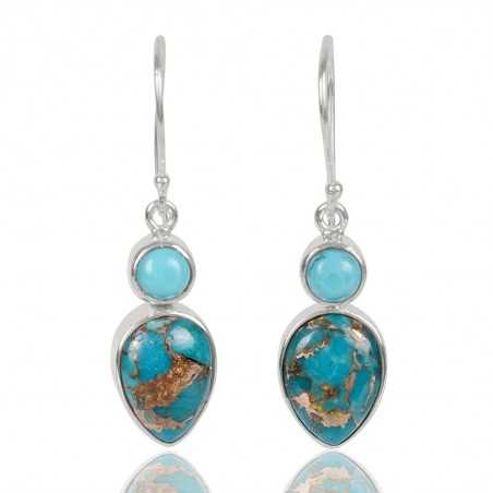 Arizona Turquoise With Blue Copper Turquoise Gemstone 925 Sterling Sliver Dangle Earring