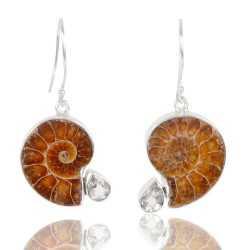 Green Amethyst And Medagasker Ammonite Gemstone 925 Streling Sliver Earring