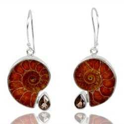 Natural Medagasker Ammonite And Smoky Quartz Gemstone 925 Streling Sliver Dangle Earring