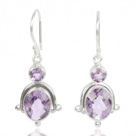 Natural Amethyst Gemstone 925 Sterling Sliver Dangle Earring