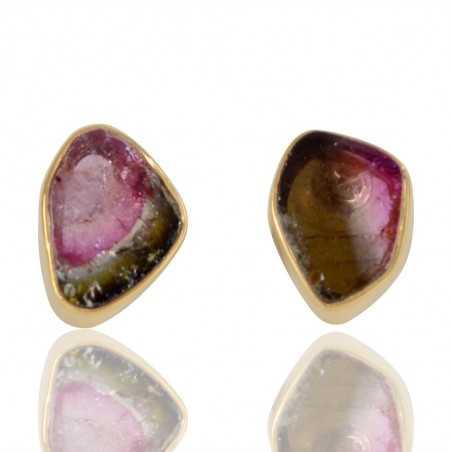 Natural Tourmaline Slice Gemstone 925 Sterling Sliver Stud Earring