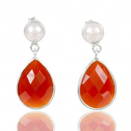 Natural Pearl And Red Onyx Gemstone 925 Sterling Sliver Dangle Earring