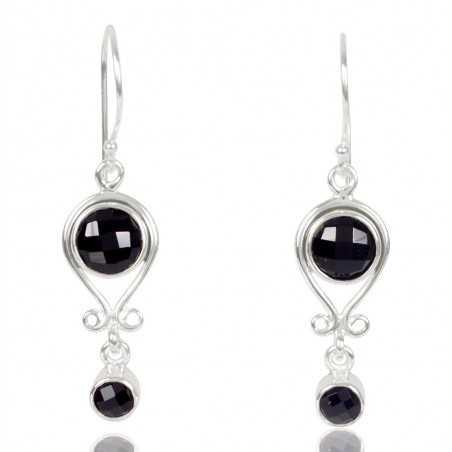 Black Onyx Gemstone 925 Sterling Sliver Dangle Earring