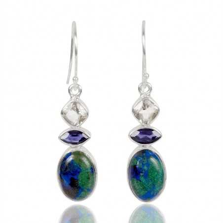 Azurite Malachite Green Amethyst And Iolite Gemstone 925 Sterling Sliver Dangle Earring