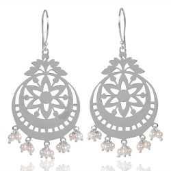 Pearl Beads Gemstone 925 Streling Sliver Earring