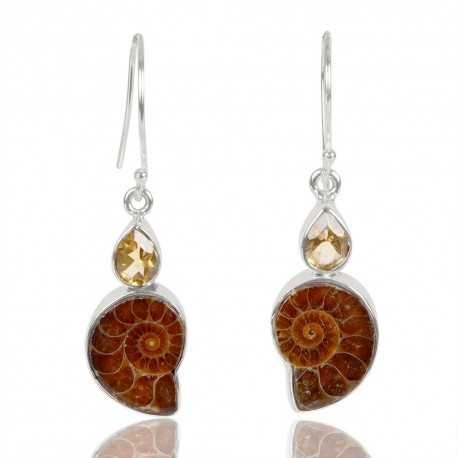 Citrine And Medagasker Ammonite Gemstone 925 Sterling Sliver Dangle Earring