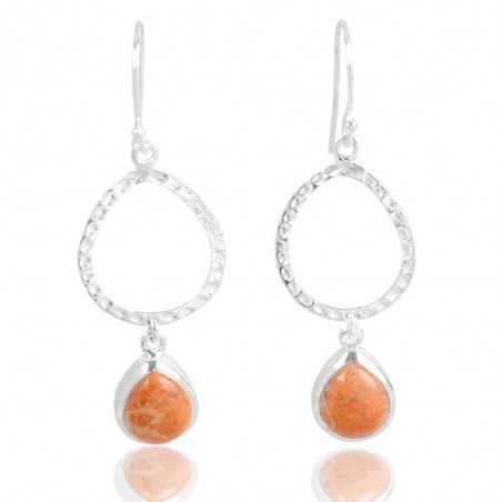 Sponge Coral Gemstone 925 Sterling Sliver Earring