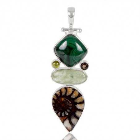 Green Kyanite Hematite Ammonite Idocrase Malachite And Smoky Quartz Gemstone 925 Sterling Sliver Pendant