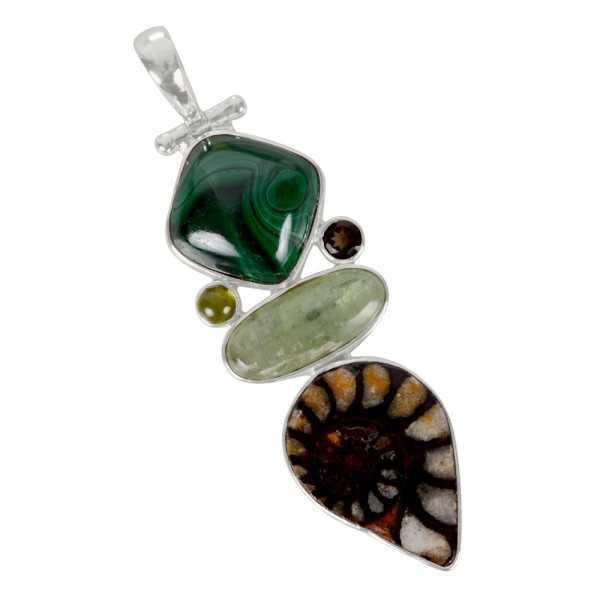 Green Kyanite Hematite Ammonite Idocrase Malachite And Smoky Quartz Gemstone 925 Streling Sliver Earring