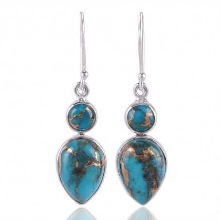 Blue Copper Turquoise Gemstone 925 Sterling Silver Dangle Earring