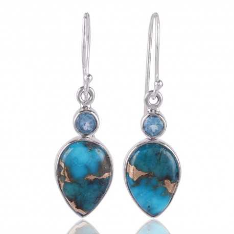 Swiss Blue Topaz With Blue Copper Turquoise Gemstone 925 Sterling Silver Drop Earring