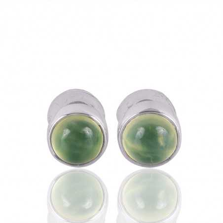 Natural Prehnite Gemstone 925 Sterling Silver Stud Earring