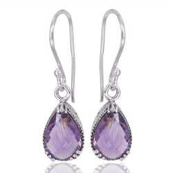 Natural Purple Amethyst Gemstone 925 Sterling Silver Earring