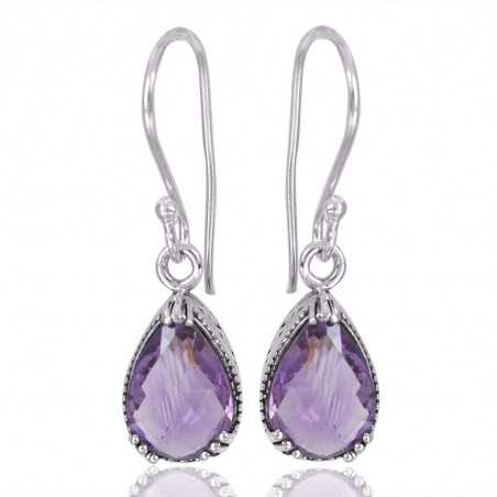 Natural Purple Amethyst Gemstone 925 Sterling Silver Earring