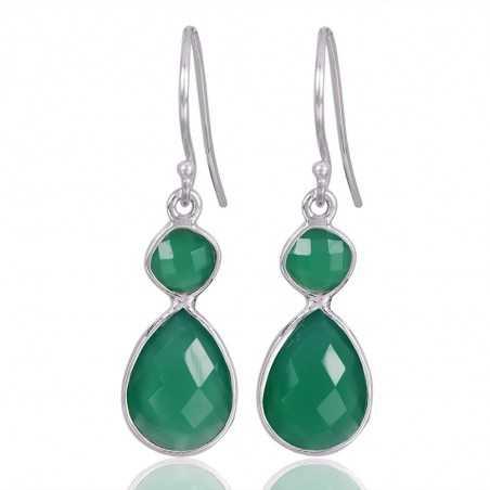 Green Onyx Gemstone 925 Sterling Silver Drop & Dangle Earring