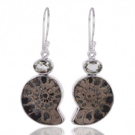 Pyarite Ammonite And Green Amethyst Gemstone 925 Sterling Silver Drop & Dangle Earring
