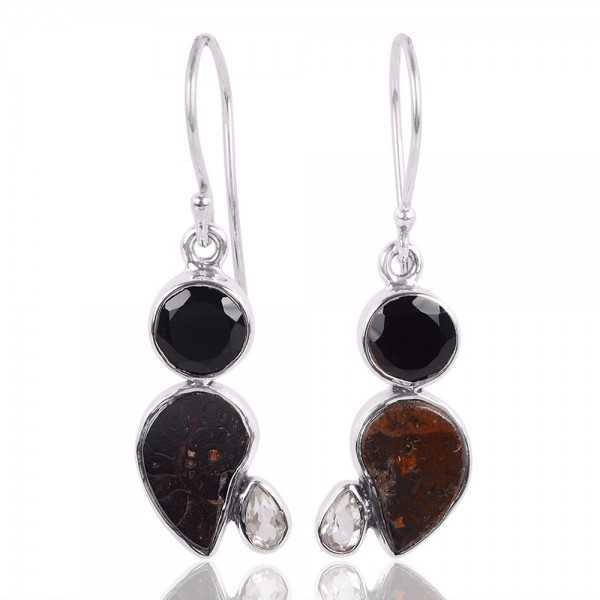 Black Onyx Crystal And Hematite Ammonite Gemstone 925 Sterling Silver Cluster Earring
