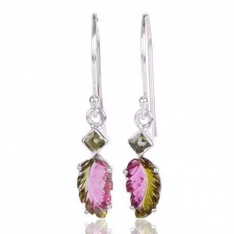 Tourmaline Gemstone 925 Sterling Silver Cluster Earring