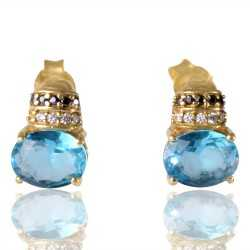 Sky Blue Swarovski Glass Black Spinal Glass White Cubic Zirconia Gold Plated Fashion Designer Stud Earring