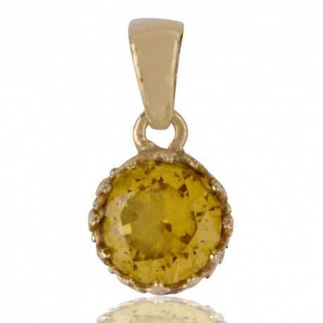 Yellow Swarovski Glass Gold Plated Fashion Designer Pendant
