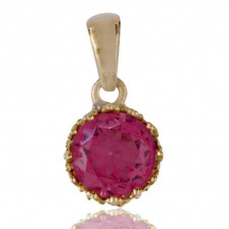 Pink Swarovski Glass Gold Plated Fashion Pendant