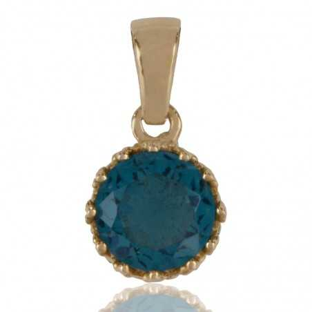 Blue Swarovski Glass Gold Plated Fashion Pendant