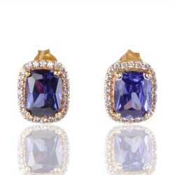 Blue Swarovski Glass White Cubic Zirconia Gold Plated Fashion Designer Stud Earring