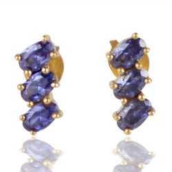 Blue Swarovski Glass Gold Plated Fashion Designer Stud Earring