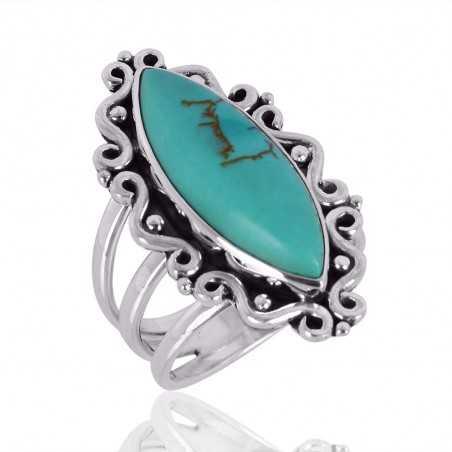 Tibetan Turqouise Gemstone 925 Sterling Silver Ring