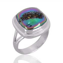 Natural Titanium Druzy Gemstone 925 Sterling Silver Ring
