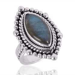 Natural Labradorite Gemstone 925 Sterling Silver Ring