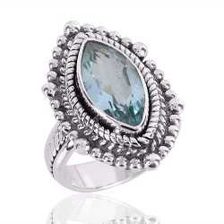 Natural Sky Blue Topaz Gemstone 925 Sterling Silver Ring