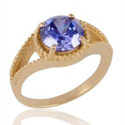Blue Swarovski Glass Gold Plated Fashion Jewelry Finger Ring