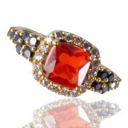 Orange Swarovski Glass, Black Spinal Glass and White Cubic Zirconia Gold Plated Fashion Jewelry Ring