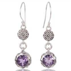 Amethyst Gemstone 925 Sterling Silver Drop And Dangle Earring