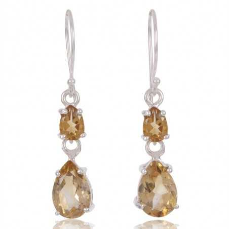 Citrine Gemstone 925 Sterling Silver Drop And Dangle Earring