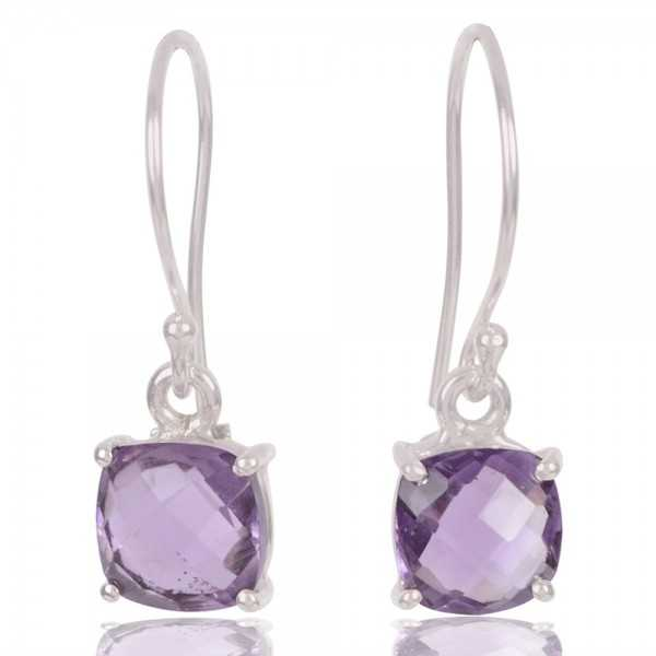 Amethyst Gemstone 925 Sterling Silver Earring