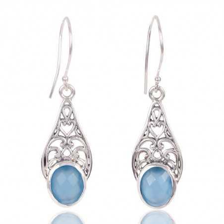 Blue Onyx Gemstone 925 Sterling Silver Earring