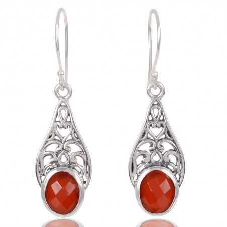Red Onyx Gemstone 925 Sterling Silver Earring